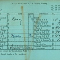 WPA block face card for household census (block 1022) in Los Angeles ...