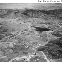 Aerial view of a dam east of the Santa Fe Ranch croplands