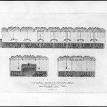 Architectural renderings of the main reading room (interior & exterior) of Doheny ...
