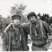 "Chuck Waters and Martin Sheen on the set of ""Eagles Wing"" (closer)"