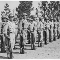 Eyes Right. A company of infantry stand at attention during training on ...