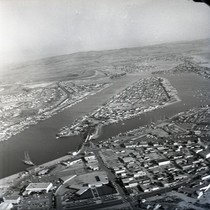 Aerial view of Lido Isle in Newport Bay, Newport Beach, California: Photograph