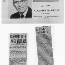 California 62nd District (Los Angeles) Assemblyman Augustus Hawkins and two newspaper clippings ...