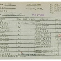 WPA bock face card for household census (block 2150) in Los Angeles ...