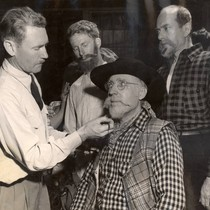 Actors getting their final touches of make-up before the 1958 Mountain Play, ...
