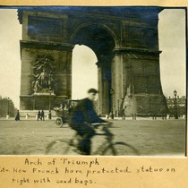 Arch of Triumph - Note how French have protected statue on right ...