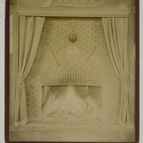 [Fireplace at Taber residence? Photograph by Isaiah West Taber.]