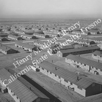 Aerial view of section of emergency center at Granada Relocation Center