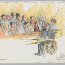 4/5/72 Gary Thomas [in wheelchair] was prosecutor crippled in Marin Shootout; Jury