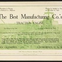 The Best Manufacturing Co.'s Traction Engine San Leandro, California