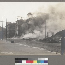 [Burning of Lincoln School. Fifth Street, between Market and Mission Streets.]