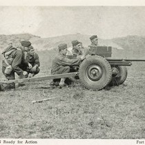 Anti-tank gun ready for action, Fort Ord, California