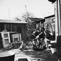 Children and dog in yard with debris