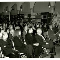Audience Watches Kenneth Wong Lecture in the Los Angeles Times Library