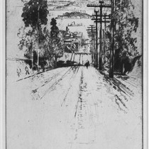 From R.L. Stevenson's House, San Francisco, 1912, Hyde Street with Cable Car ...