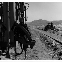 Building equipment along railroad at Dos Cabezos in Anza Borrego Desert State ...