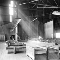 Barr Lumber Company lumber shed, interior view, Santa Ana, California: Photograph