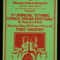 "1st Annual ""Ethnic Conga Drum Festival,"" Announcement Poster for"