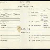 WPA Low income housing area survey data card 118, serial 13079, vacant