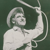 Actor James Whitmore portraying Will Rogers on Broadway
