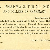 Announcement card for California Pharmaceutical Society conference