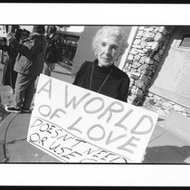 Anti-violence protester from the Pasadena coalition, 1996