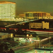 Aerial view of Los Angeles Civic Center at night