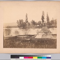 [Boundary Commission depot, Sinyakwateen, Pend Oreille River - Indian wigwam and canoe ...