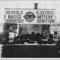 Charles Herrold in radio lab booth [ca. 1925]