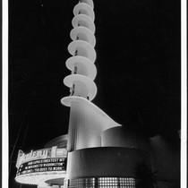 Academy Theatre, Inglewood, tower at night