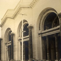 The Machinery Palace under construction for the 1915 Panama Pacific International Exposition, ...