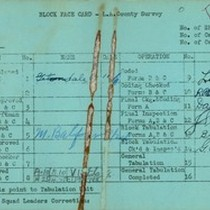 WPA block face card for household census (block 1147) in Los Angeles ...