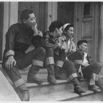 High school boys look over Buchanan Street scene, prior to evacuation of ...