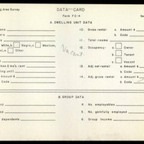 WPA Low income housing area survey data card 120, serial 19345, vacant
