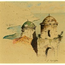 Coast Monastery, watercolor on paperboard, c. 1918