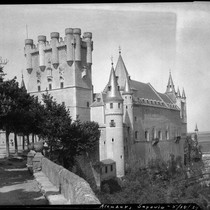 Alcázar of Segovia, view of the towers and turrets, Segovia, Spain, 1929