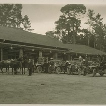 [Automobiles and horses at unidentified lodge. Monterey County.]