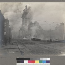 [Call Building on fire, Market Street. Looking northeast from near Fourth St.]