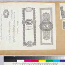 Album page with certificate, bond and bank note vignettes of borders and ...