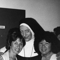 Bobbi Campbell in nun costume with Gayling Gee and unidentified woman