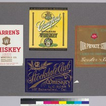 Album page of whiskey labels