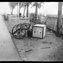 Abandoned wheel chairs at Saint Marks Hospital after the earthquake, San Francisco, ...
