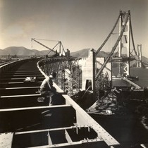 Construction of the floor system of the Golden Gate Bridge, looking north ...