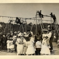 Children using the playground at the Tamalpais Centre during May Day. Kentfield, ...
