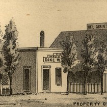 Gaudenzio Cheda's home, stores and stable, San Rafael, California, 1884 [illustration]