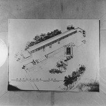 Architects aerial drawing of the Petaluma Inn, Petaluma, California, 1959