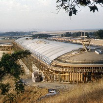 Administration Building under construction, circa 1960, at the Frank Lloyd Wright-designed Marin ...