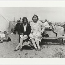 Fishing camp at Freshwater Lagoon, two half-breed Yurok girls