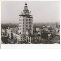 Aerial view of nearly completed Oakland City Hall, 1912