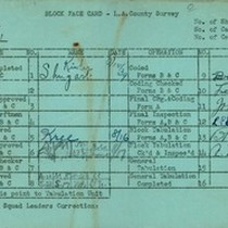 WPA block face card for household census (block 1021) in Los Angeles ...